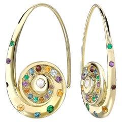 Venyx 18 Karat Gold Diamond Sapphire Opal Amethyst Citrine Garnet Topaz Earrings