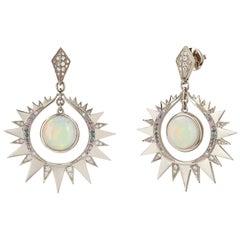 Venyx 18 Karat Gold Diamond Sapphire Opal Aruna Earrings