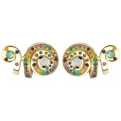 Venyx 18 Karat Gold Diamond Sapphire Opal Colored Stone Moonshell Ear Cuff