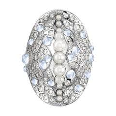 Venyx 18 Karat Gold Pearl Moonstone Diamond Una Rainbow Fish Ring