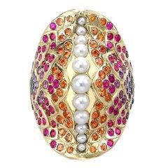 Venyx 18 Karat Gold Pearl Sapphire Colored Stone Una Rainbow Fish Ring