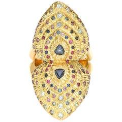 Venyx 18 Karat Gold Sapphire Ruby Amethyst Colored Stone Bear Paw Heart Ring