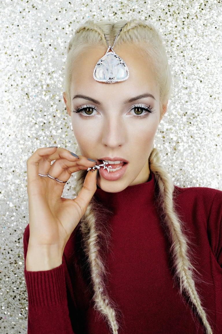Contemporary Venyx 18 Karat White Gold and Diamond Lady Clipse Earrings