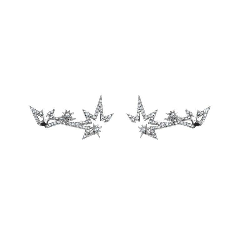 Venyx 18 Karat White Gold and Diamond Lady Clipse Earrings