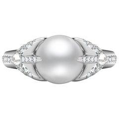 Venyx 18 Karat White Gold Diamond Akoya Pearl Oseanyx Cocktail Ring