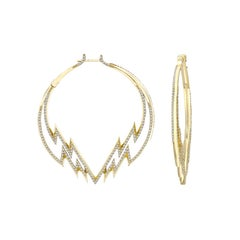 Venyx 18 Karat Yellow Gold and Diamond Electra Hoop Earrings
