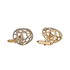 Venyx 18 Karat Yellow Gold and Diamond Tortuga Cufflinks