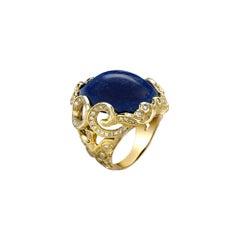 Venyx 18 Karat Yellow Gold, Diamond and Lapis Yemanja Ring