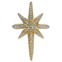 Venyx 18 Karat Yellow Gold Diamond and White Sapphire Star Cocktail Ring
