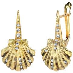 Venyx 18 Karat Yellow Gold Diamond Black Rhodium Lady V Shell Drop Earrings