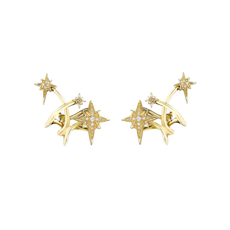 Venyx 18 Karat Yellow Gold  Diamond Lady Australis Star Stud Earrings Cuffs For Sale