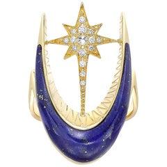Venyx 18 Karat Yellow Gold Diamond Lapis Parrot Star Fish Cocktail Ring
