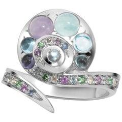 Venyx 18 Karat Gold Diamond Moonstone Sapphire Topaz Tourmaline Moonshell Ring
