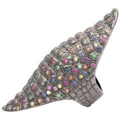 Venyx 9 Karat Gold Diamond Sapphire and Colored Stone Rainbow Lady Gator Ring