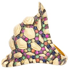 Venyx 9 Karat Gold Diamond Sapphire and Colored Stone Rainbow Madagascar Ring