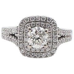 Ver Wang Split Shank Halo Diamond Engagement Ring Rounds 1.50 TCW 14k White Gold