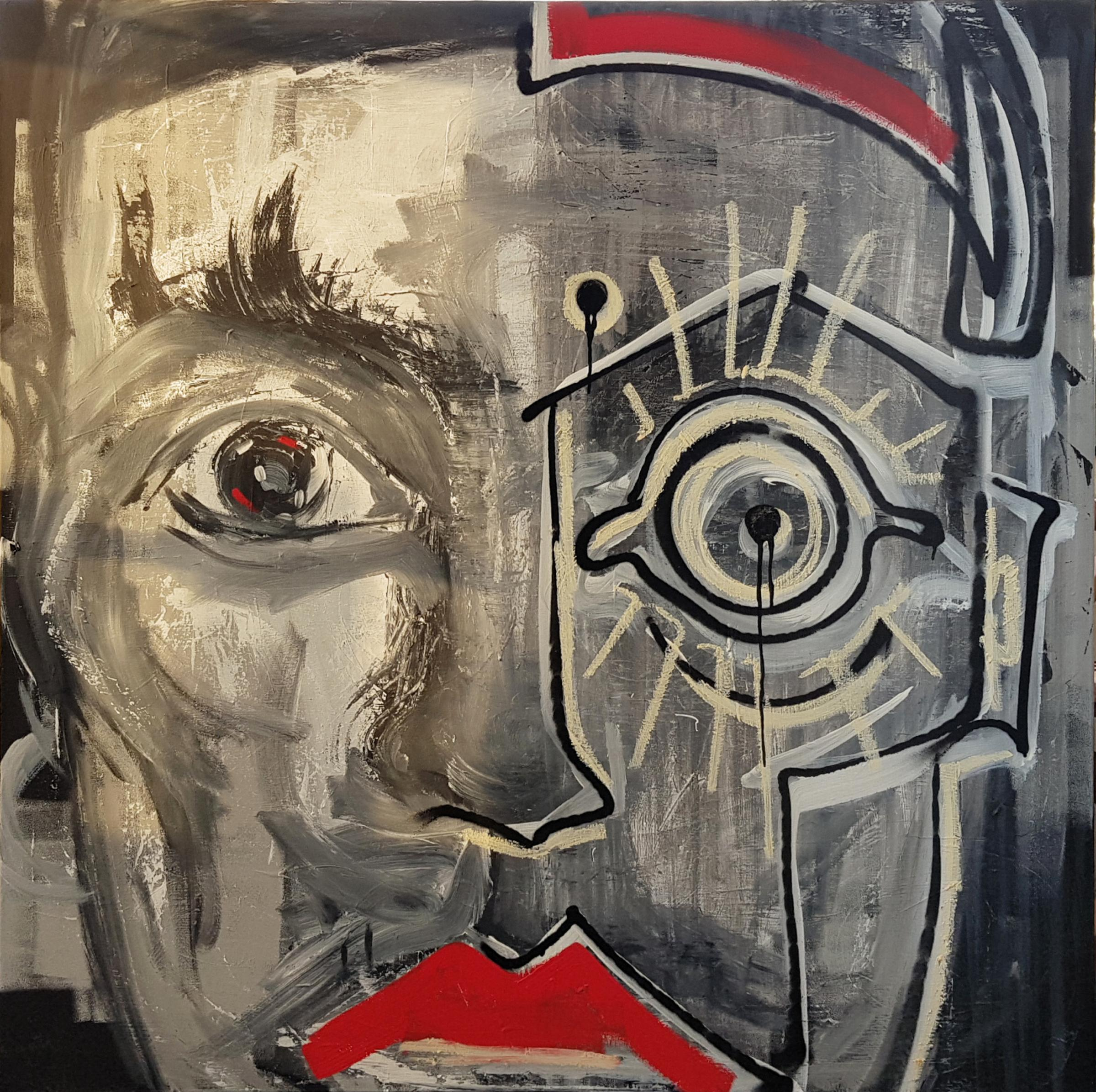 Red lips - 21st Century, Gray, Red, Figurative Painting, Acrylic, Contemporary