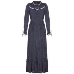 Vera Mont 1970s Prairie Navy Polka Dot Dress