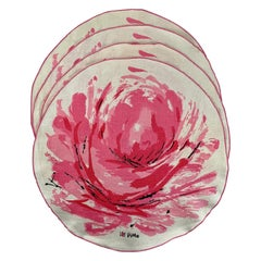 Vera Neumann 1960s Mid-Century Modern Round Pink Rose Linen Placemats Set, S/4