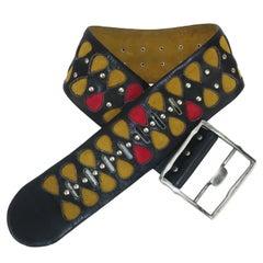 Vera Neumann Black Leather Studded Wide Belt, 1960's