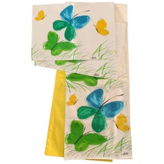 Vera Neumann Mid-Century Modern Era Butterflies & Grass Table Runner & Mats S/3