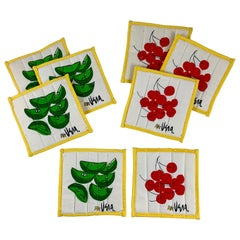 Vera Neumann Mid-Century Modern Quilted Fabric Cherries & Limes Coasters, S/8