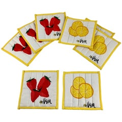 Vera Neumann Mid-Century Modern Quilted Fabric Strawberry & Lemon Coasters, S/8