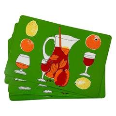 Vera Neumann Sangria Pitcher, Glasses & Citrus Fruit Plastic Placemats, Set of 8