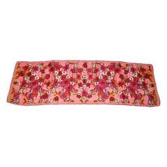 "Vera ""Shades Of Burgundy & Pinks Bloom Floral"" Silk Scarf"