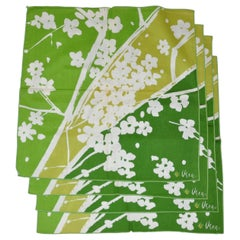 "Vera Shades of Emerald Green & White ""Set of 4"" Floral Napkins"