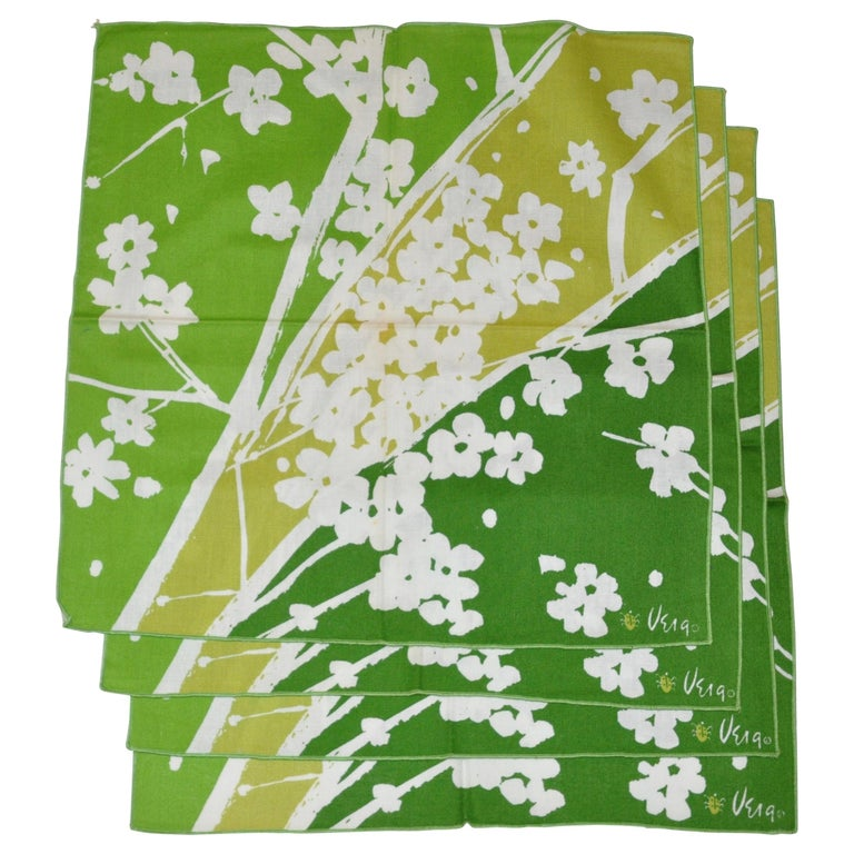 "Vera Shades of Emerald Green & White ""Set of 4"" Floral Napkins For Sale"