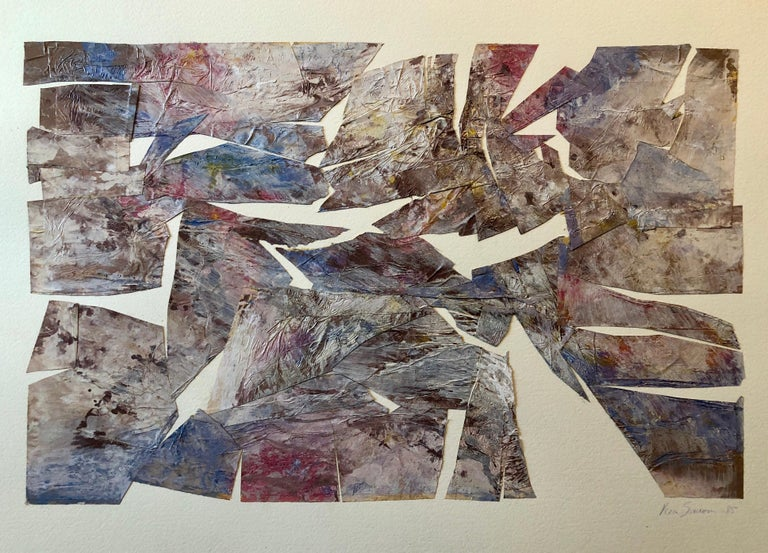 This is an Abstract Expressionist torn  and folded paper painted collage. The paper is metallicized through some process.  they are very luminous and beautiful. it is mounted on heavy French Arches paper.  SIMONS, Vera (1920 - 2012) Vera Habrecht
