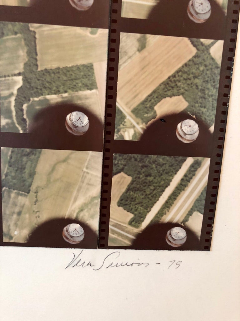 1979 Square Time Indiana, Photo Mosaic Collage Aerial Photograph, Female Aviator - Beige Color Photograph by Vera Simons