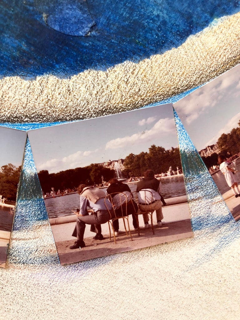 Afternoon in Tuileries Paris Boats Painting Photo Collage Photograph Assemblage  For Sale 2