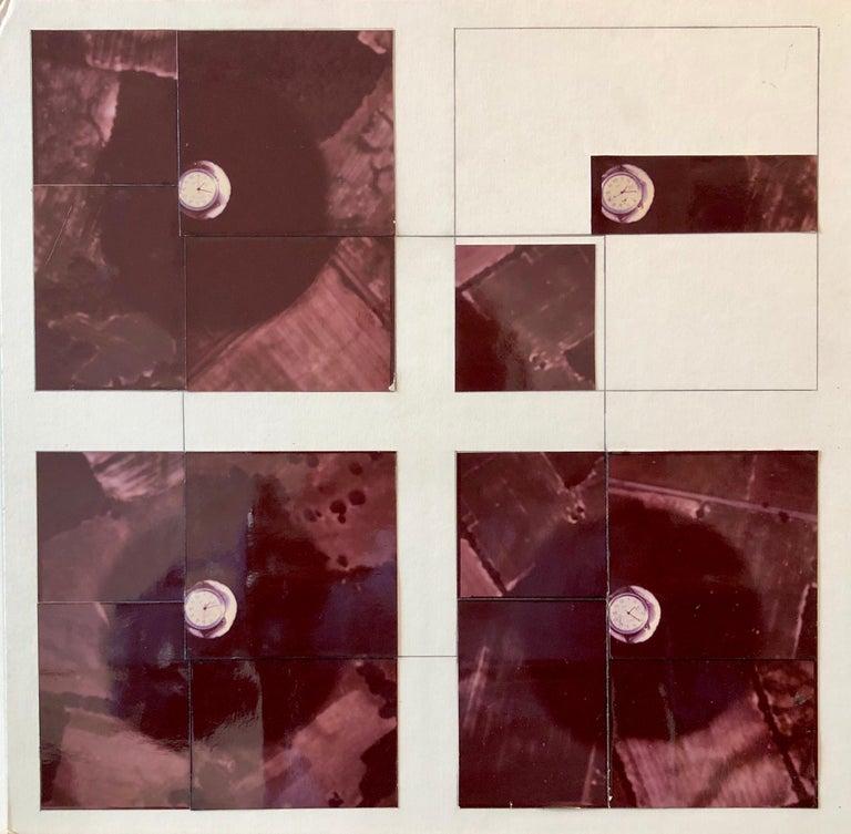 Vera Simons Color Photograph -  Fields Pattern, Wrist Watch, Photo Mosaic Collage Aerial Landscape Photograph