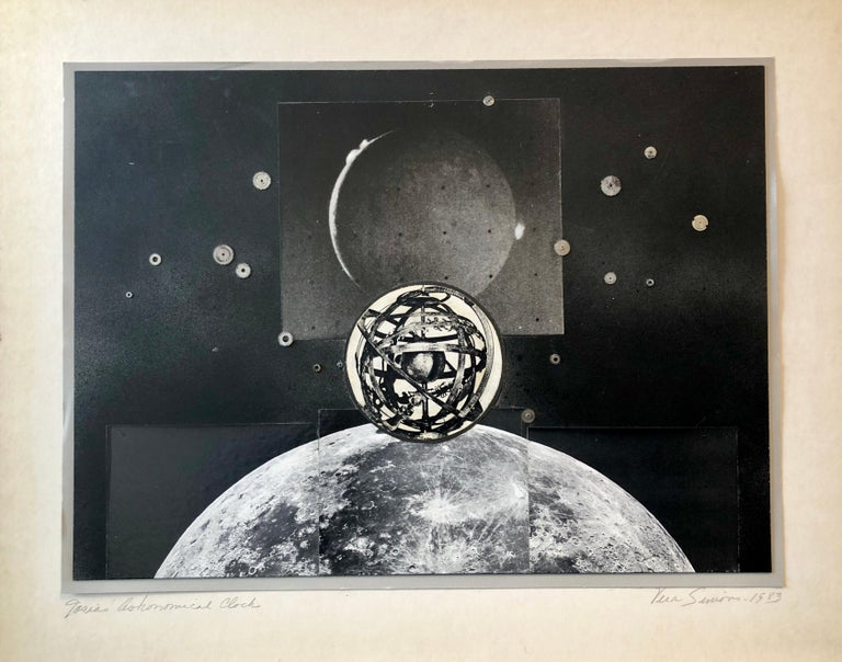 Vera Simons Black and White Photograph - Josias Astronomical Clock Watch Parts Assemblage Photo Planet Collage Photograph