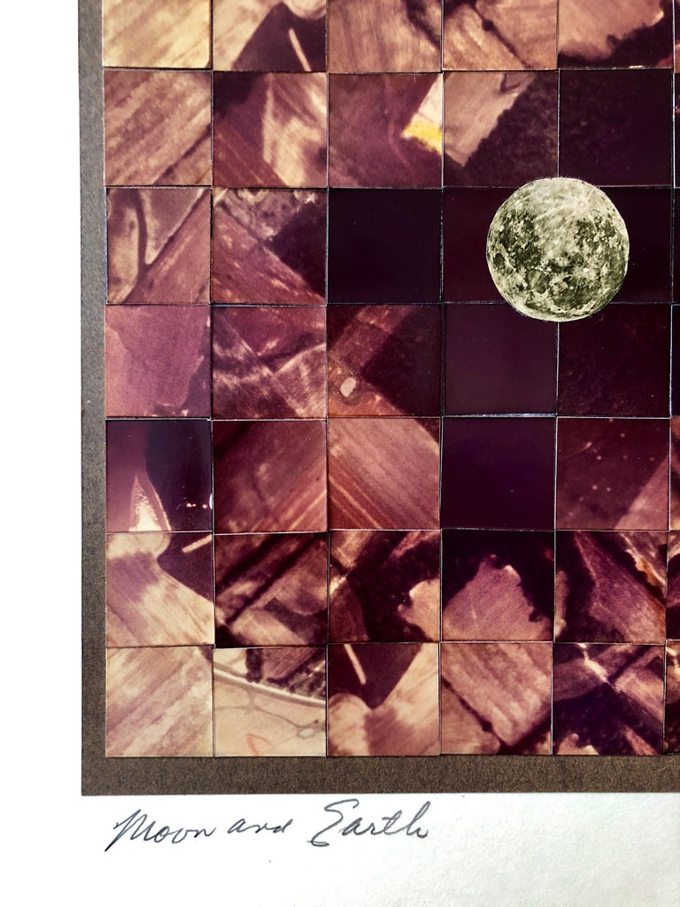 Moon and Earth Assemblage, Photo Mosaic Collage Photograph, Feminist Aviator For Sale 1