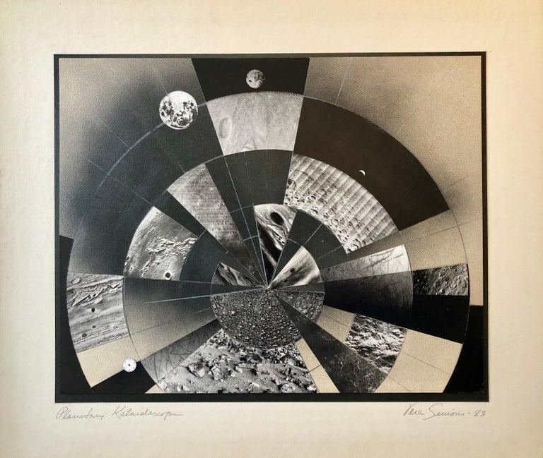 Vera Simons Black and White Photograph - Planetary Kaleidoscope, Photo Mosaic Collage Space Photograph, Feminist Aviator