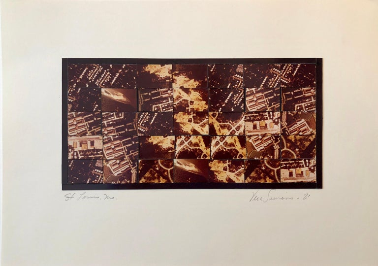St Louis MO Photo Mosaic Collage Aerial Photograph, Female Aviator Feminist Art - Brown Color Photograph by Vera Simons
