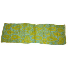 "Vera Turquoise & Lime 'Abstract Palsey"" Print Silk Scarf"