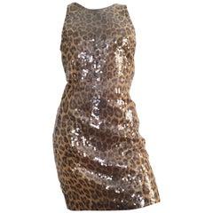 Vera Wang 1980s Sequin Cheetah Print Cocktail Dress Size 6.