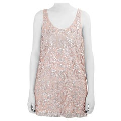 Vera Wang Collection Blush Pink Sequin Embellished Tulle Overlay Sleeveless Top