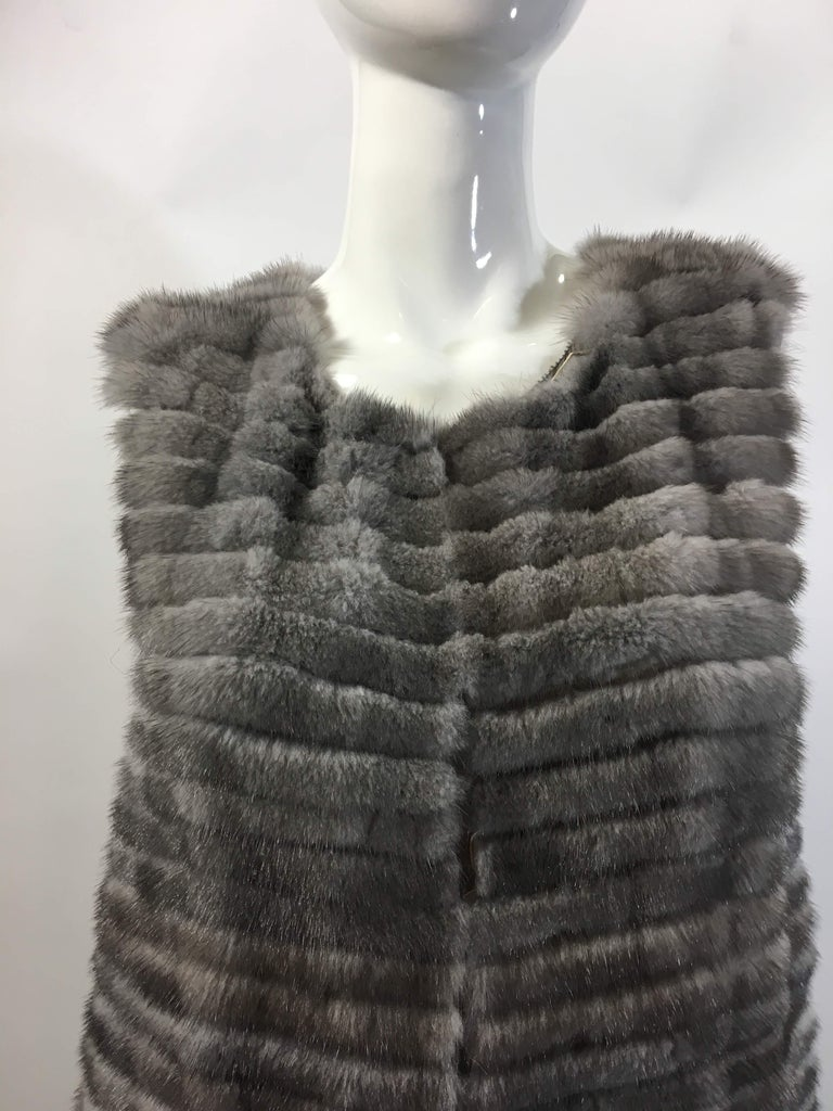 Gray Vera Wang Collection Mink Open Front  Vest