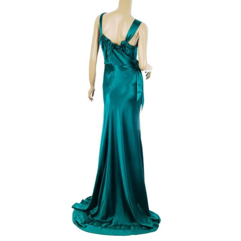 Blue Vera Wang Flowing Satin Evening Gown M For Sale
