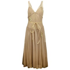 Vera Wang Gold Mesh Dress sz 8