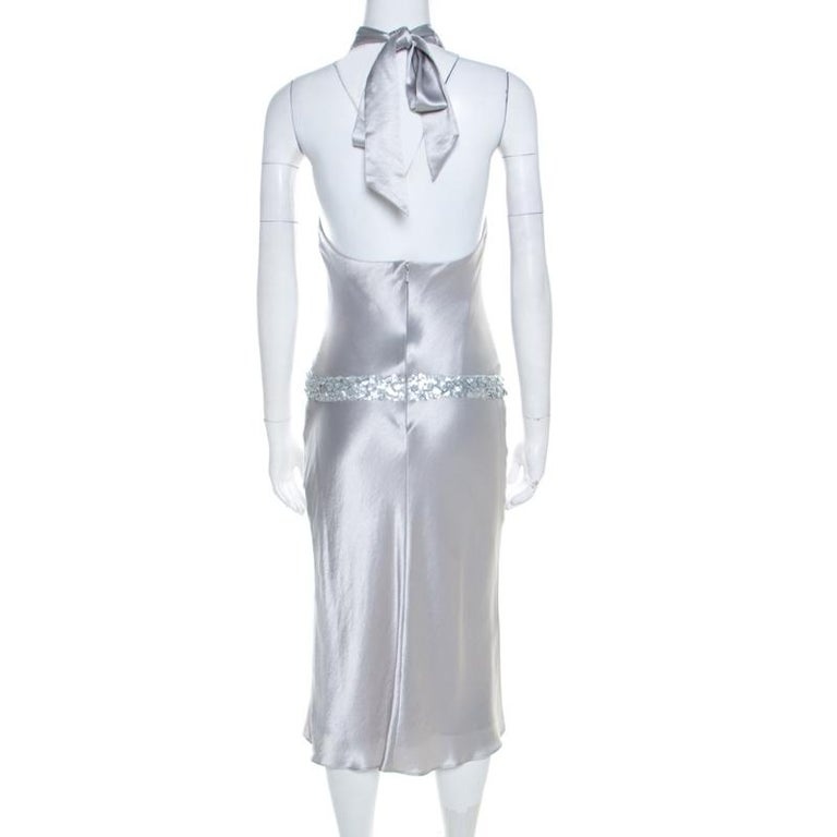 Gray Vera Wang Grey Satin Sequin Embellished Halter Tie Up Flared Dress M For Sale