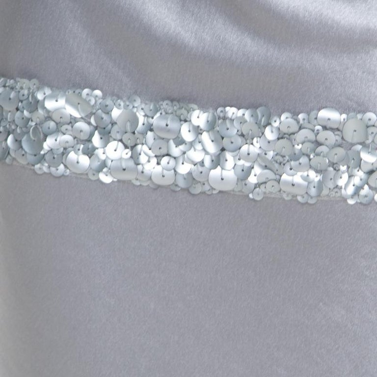 Women's Vera Wang Grey Satin Sequin Embellished Halter Tie Up Flared Dress M For Sale