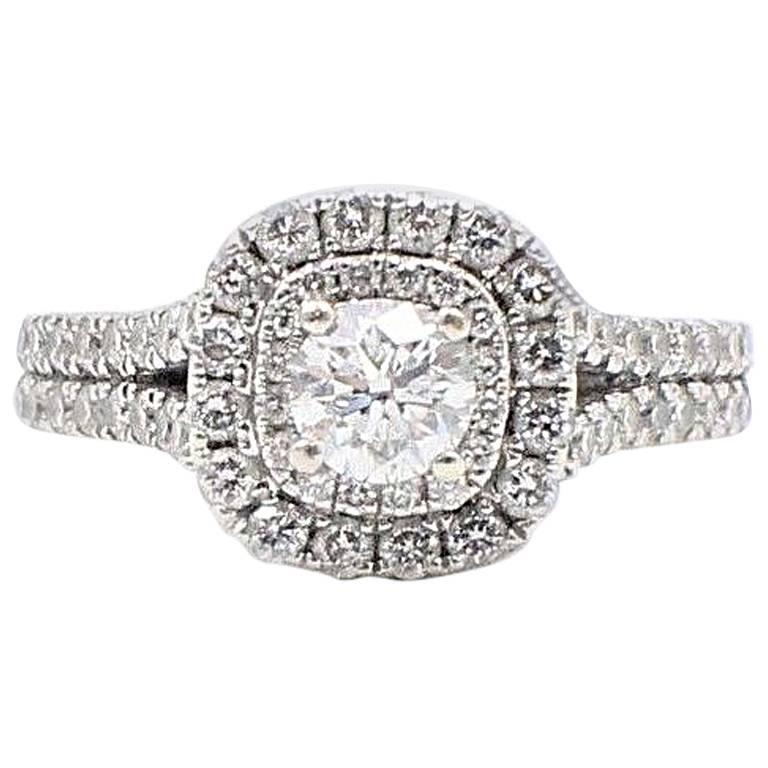Vera Wang Halo Diamond Engagement Ring Rounds 1 1/2 Carat