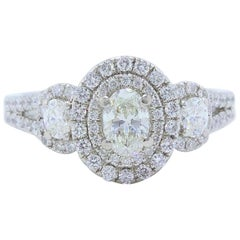 Vera Wang Love 1 1/2 Carat Oval Three-Stone Diamond Halo Ring 14 Karat WG