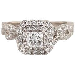 Vera Wang Love 1.00 Carat Princess Diamond Double Twist 14 Karat WG Ring